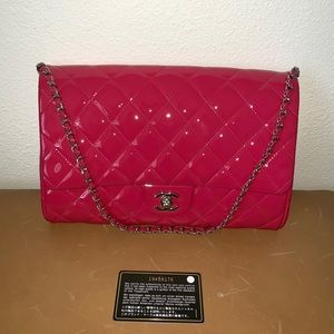 Chanel fuchsia patent quilted clutch w/chain